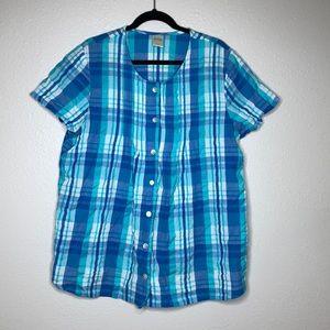 Blair plaid button down cotton blouse